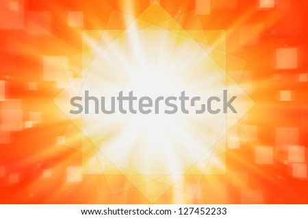 Abstract orange with square background.