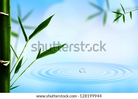 Abstract oriental backgrounds with bamboo and water ripple - stock photo