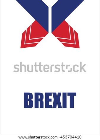 abstract origami design, brexit banners - stock photo
