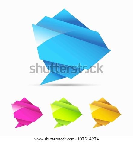 Abstract origami speech bubble - stock photo
