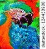 Abstract original painting of a parrot. - stock photo