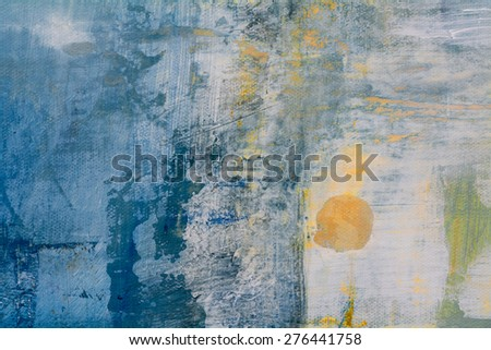 abstract original painting on canvas, golden ball in blue, can be used as background or poster - stock photo