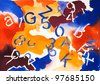 abstract original watercolor painting with numbers and letters - stock photo