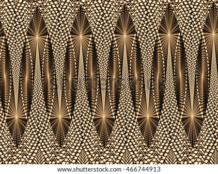 Abstract ornament - computer-generated image. Fractal geometry - part of border from interwoven bands. Trendy background for covers, web design, posters and prints.