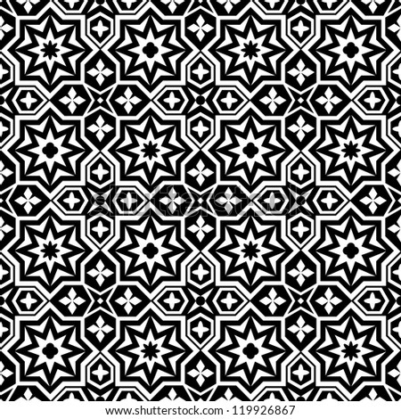 Abstract ornamental seamless pattern background black and white