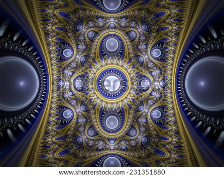 Abstract ornate blue winter background. Golden and silver luxury glowing pattern. Glowing decorated cover of your booklet, flyer, album, invitation for holiday. Digital artwork. Fractal art - stock photo