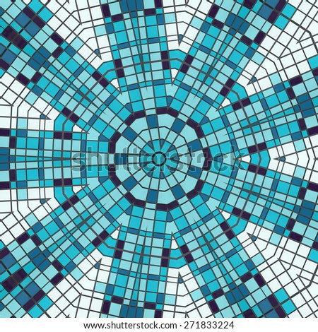 Abstract ornate radial pattern made of blue plates - stock photo