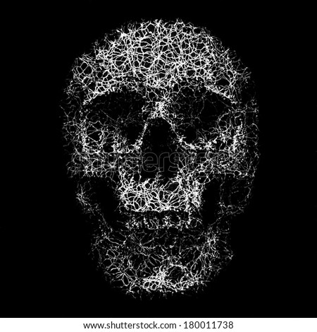Abstract ornate textured human skull print template. - stock photo