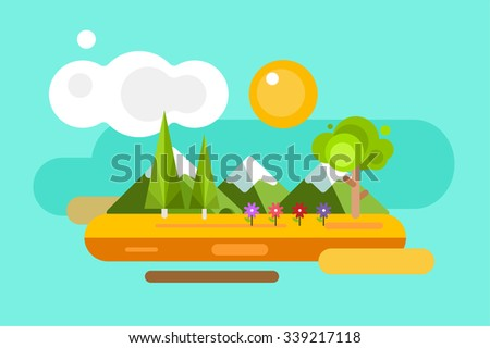 Abstract outdoor summer landscape. Trees and nature signs or outdoor, mountains, river or lake, sun, clouds, flowers, cave. Design elements - stock photo