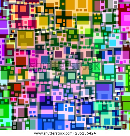 Abstract overlapping colorful square shapes. - stock photo