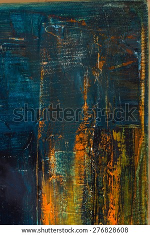 Abstract pained canvas. Oil paints on a palette. Colorful art vintage background. Copy space. - stock photo