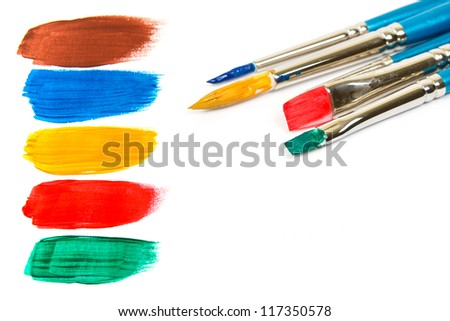 Abstract paint and brushes, isolated on white - stock photo