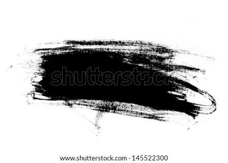 Abstract paint brush stroke. Black brush stroke over textured white paper background. - stock photo