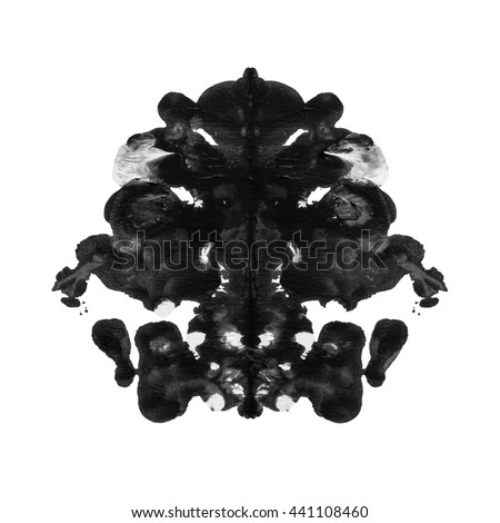 abstract paint watercolor inkblot rorschach isolated on white background - stock photo