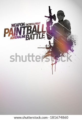 Abstract paintball or airsoft game invitation advert background with empty space - stock photo