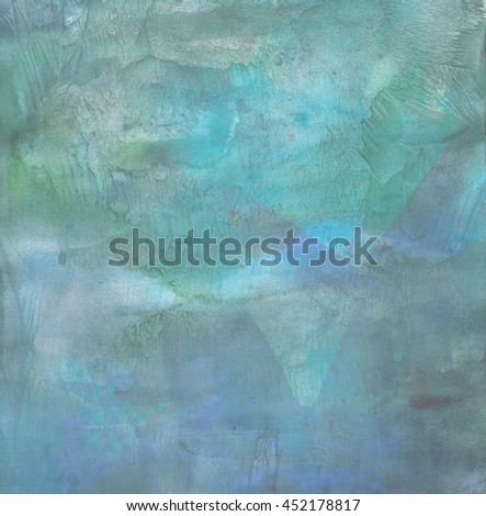 Abstract painted background in blue. Handmade background with gouache. Raster.