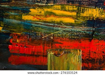 Abstract painted canvas. Oil paints on a palette. Colorful art vintage background. Copy space. - stock photo