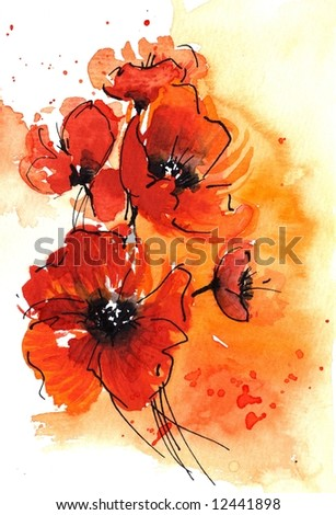 Abstract painted floral background in different shades of apricot and orange with romantically red poppies. Art is created and painted by photographer