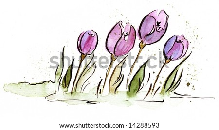 Abstract painted floral background with violet tulip flowers and green leaves on white. Art is painted and created by photographer - stock photo