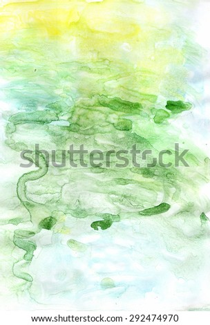 Abstract painted green colorful watercolor background  - stock photo
