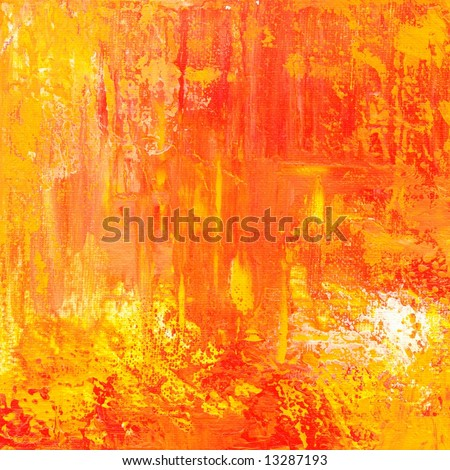 Abstract painted grunge background / texture in different shades of red and yellow and orange. Art is created and painted by photographer, no filter used. - stock photo