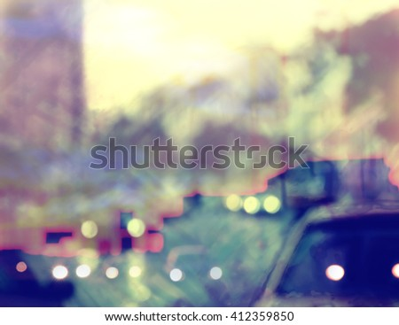 abstract painted urban background with blurred car lights and buildings  - stock photo