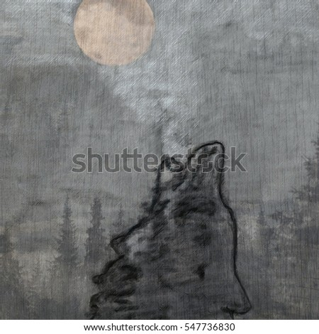 abstract painted wolf over the moon art mixed media background