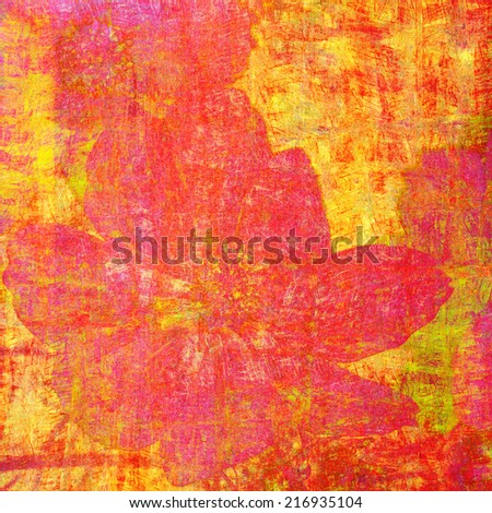 Abstract painting background with cosmos flower - stock photo