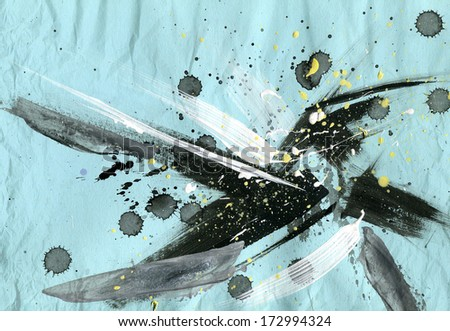 Abstract painting background with expressive brush strokes - stock photo