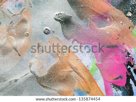 abstract painting background with silver splatter