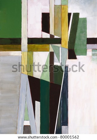 Abstract painting by Clive Watts - Green Cross - stock photo