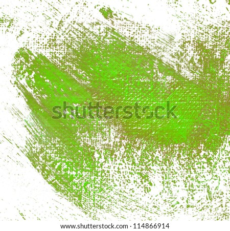 abstract painting by oil on a canvas, illustration, painting, green dabs a brush on a white background - stock photo