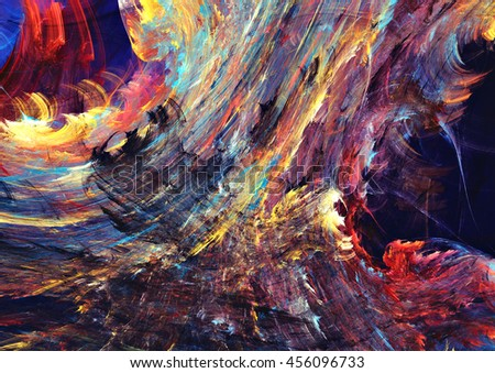 Abstract painting dark color texture. Bright artistic fiery futuristic background. Modern multicolor dynamic pattern. Fractal artwork for creative graphic design