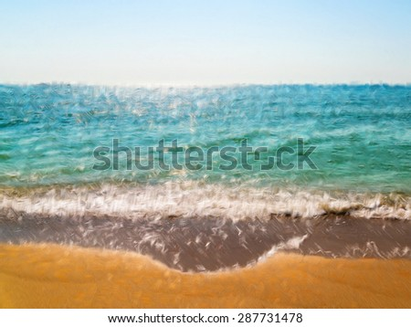 Abstract Painting Effect Of Sea And Tropical Beach In Summer Landscape