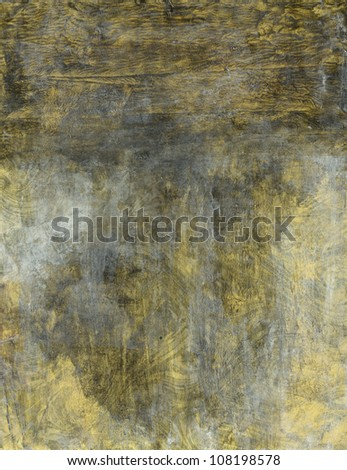 Abstract painting gold swirls covered in oxidation.