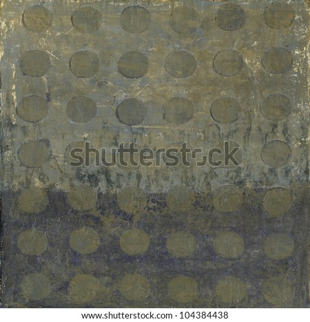 Abstract painting of circles in a pattern in neutral tones. - stock photo