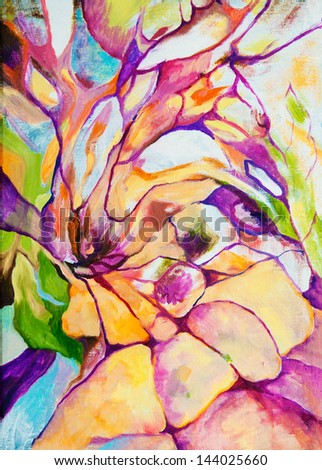 abstract painting of flowers - stock photo