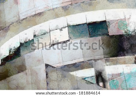 Abstract painting of modern architecture detail with grunge - stock photo