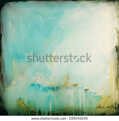 Abstract Painting on canvas. Hand painted - stock photo