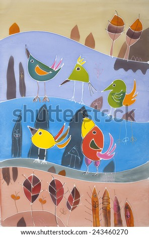 Abstract painting on silk. Original hand painted with birds. Quintet - stock photo