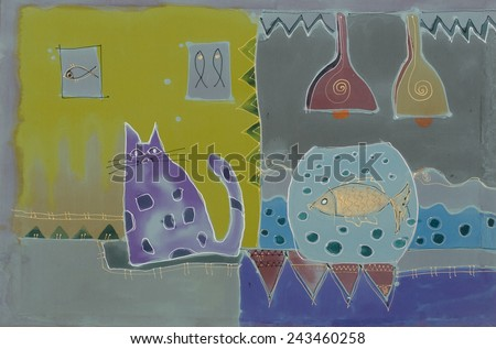 Abstract painting on silk with fish  and cat. Original hand painted. Safety Love - stock photo