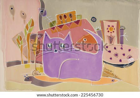 Abstract painting on silk with purple cat. Original hand painted - stock photo
