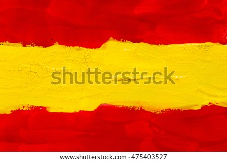 Abstract painting texture. Bright artistic background. Colors of the spanish flag