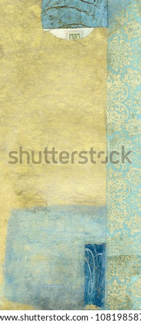 Abstract painting with blue and gold tones. and collage of royal blue and gold paper.