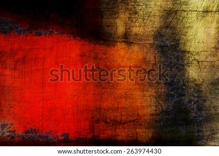 Abstract painting with bold red and yellow shapes and rough texture. - stock photo