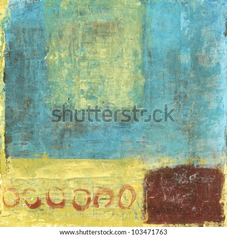 Abstract painting with red and gold and blue colors.