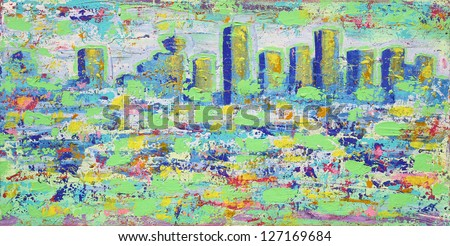 Abstract painting with Vancouver towers - stock photo