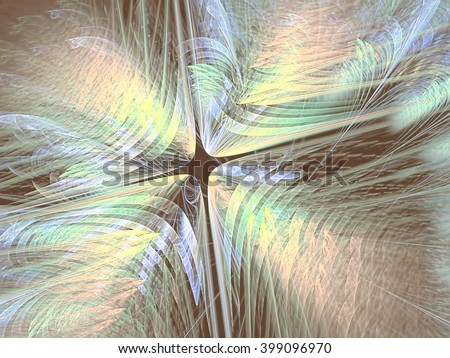 Abstract pale fractal background - computer-generated image. Chaos shapes like flower. Modern fractal artwork for banners, posters, web-design. - stock photo
