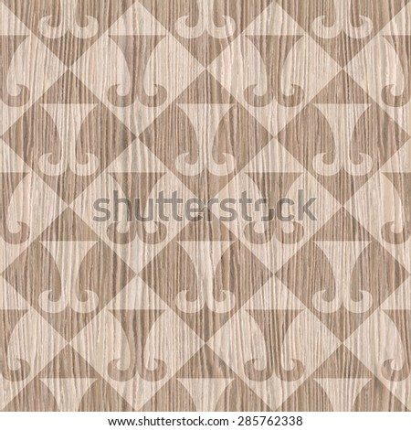 Abstract paneling pattern - seamless background - hipster symbol - Blasted Oak Groove wood texture - stock photo