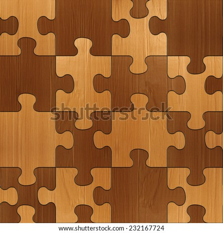 Abstract paneling pattern - seamless background - wooden puzzles - veneer alder - stock photo